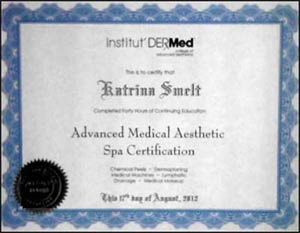 Katrina Smelt Advanced Medical Aesthetic Spa Certification